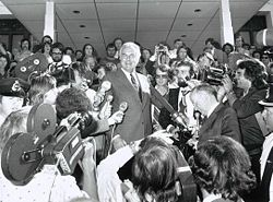 EG Whitlam on the steps of Parliament House, 11 November, 1975